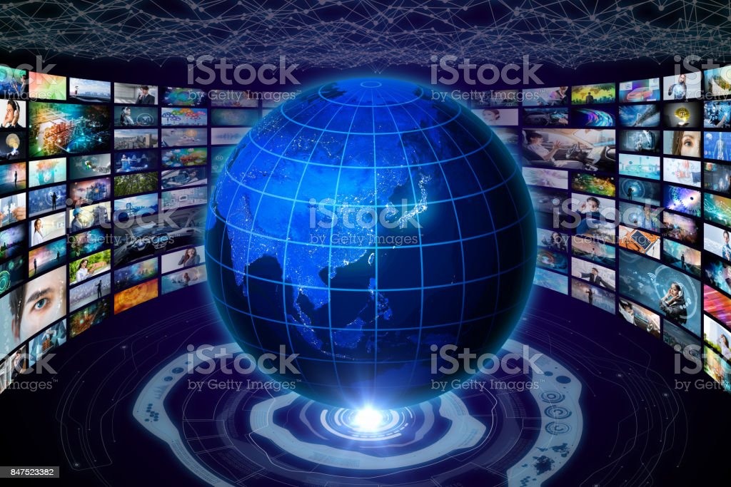 worldwide internet streaming service concept. elements of this image furnished by NASA. 3D rendering. stock photo