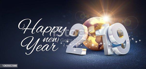 istock Worldwide New Year 2019 Greeting card 1063932566