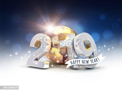 968131582 istock photo Worldwide New Year 2019 Greeting card 1067366500