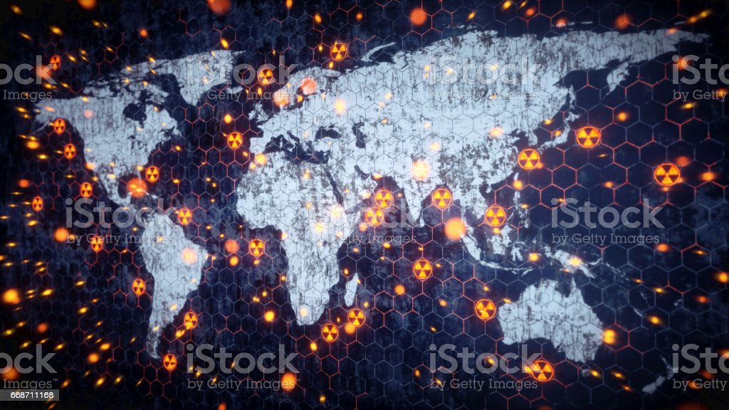 Worldwide Nuclear Conflict Concept stock photo
