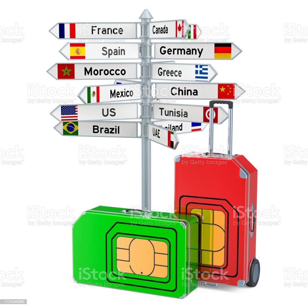 Internationale Sim Karte.Roaming Und Reisen Weltweit Internationale Simkarte Konzept 3d