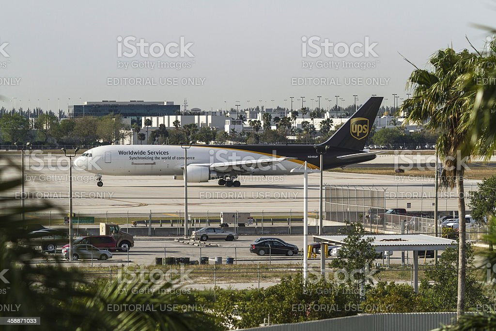 UPS Worldwide Services Airplane royalty-free stock photo