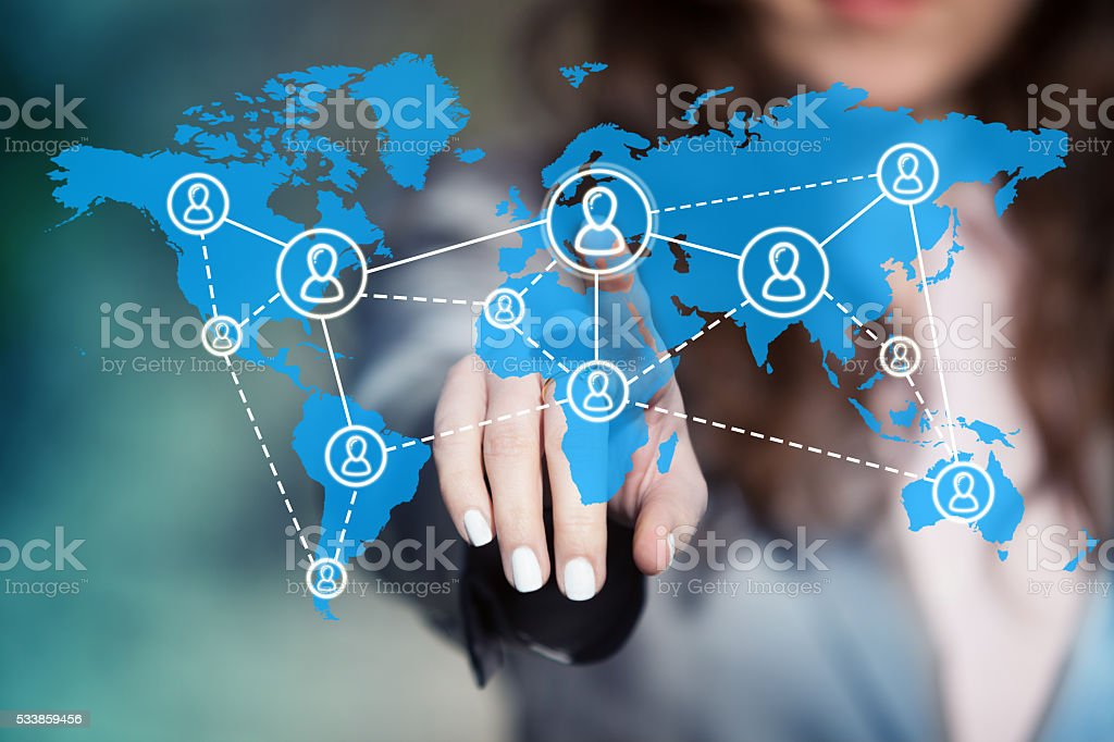 Worldwide team building. stock photo
