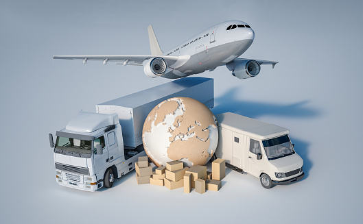 3D rendering of the Earth, a pile of boxes, a truck, a plane, and a van