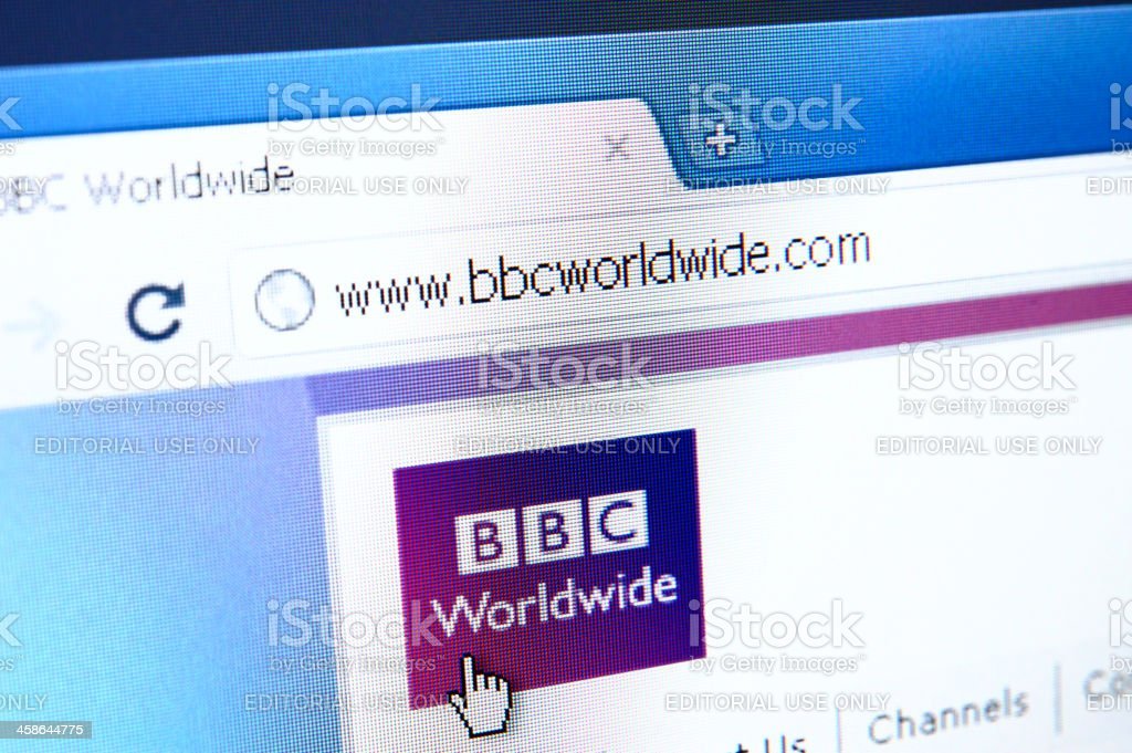 BBC Worldwide webpage on the browser royalty-free stock photo