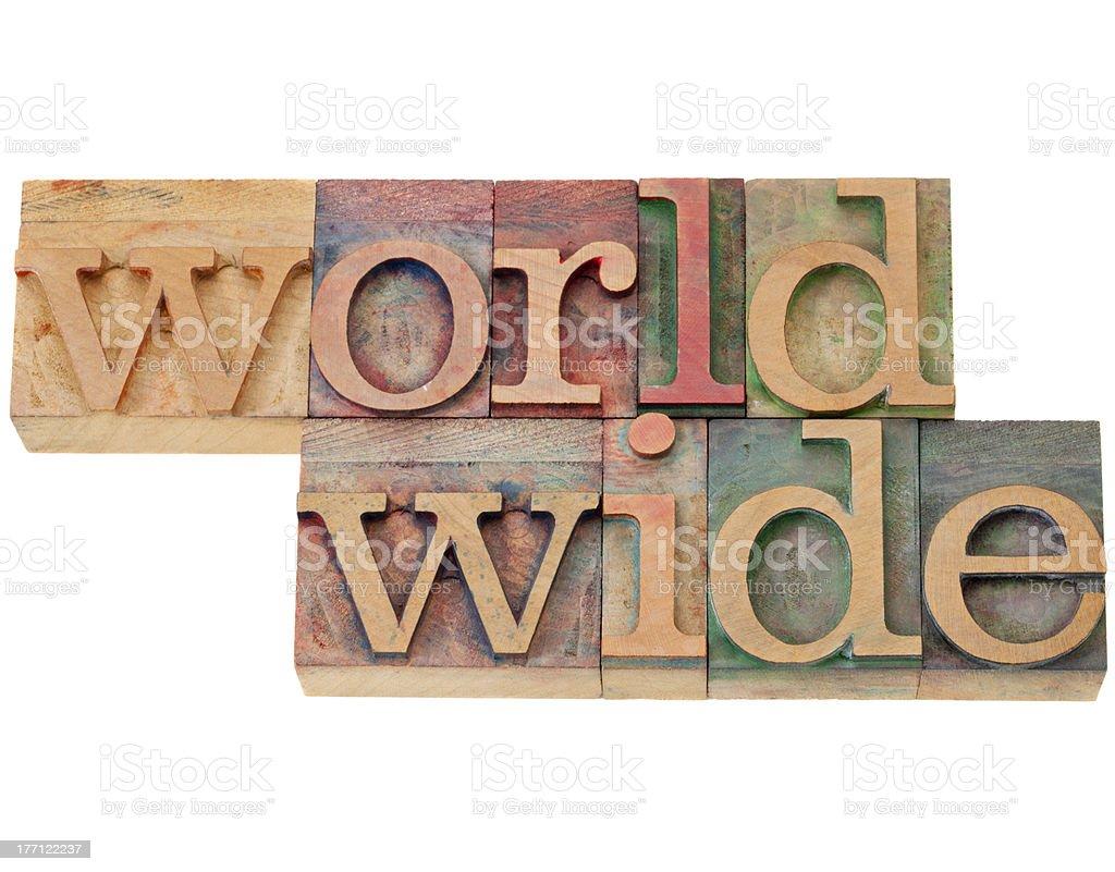 worldwide word in letterpress type royalty-free stock photo
