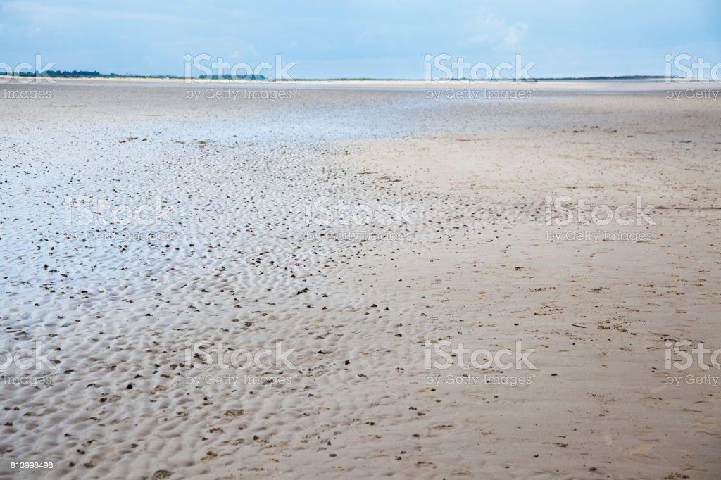 worm casts on sandy beach at Brancaster Norfolk England stock photo