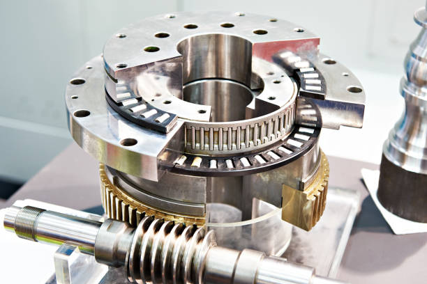 Worm gear and bearings stock photo