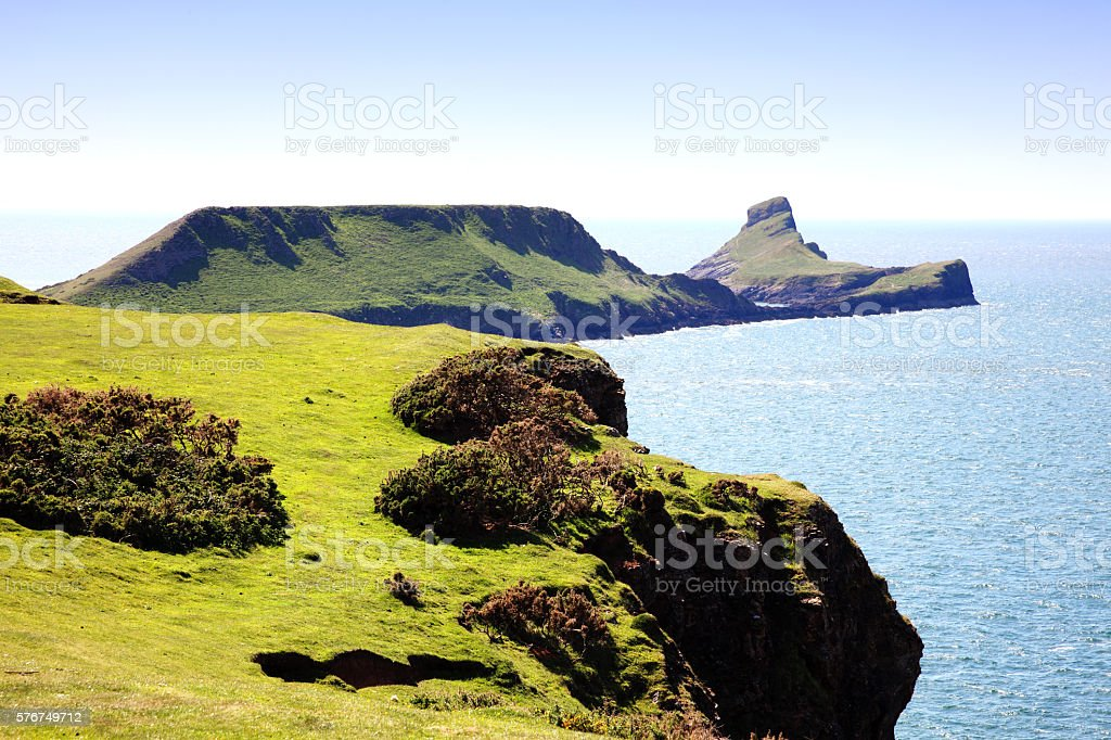 Worm's Head, Rhossili Bay, Wales stock photo