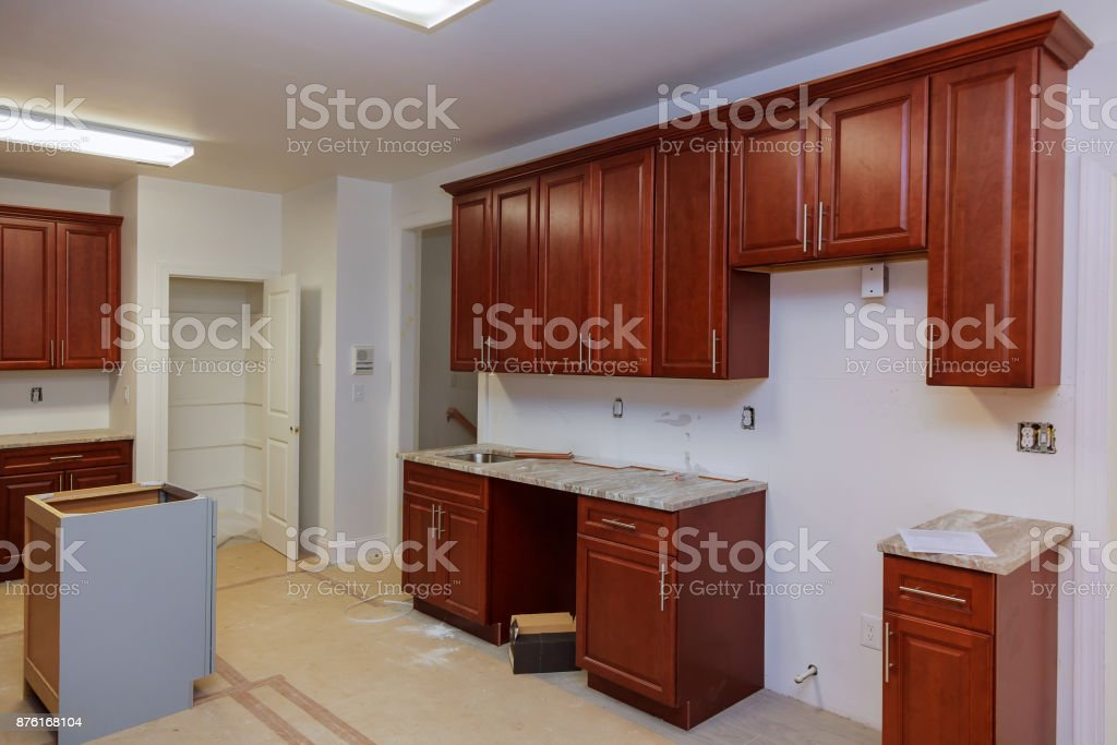 A worm's view installed in a new kitchen stock photo