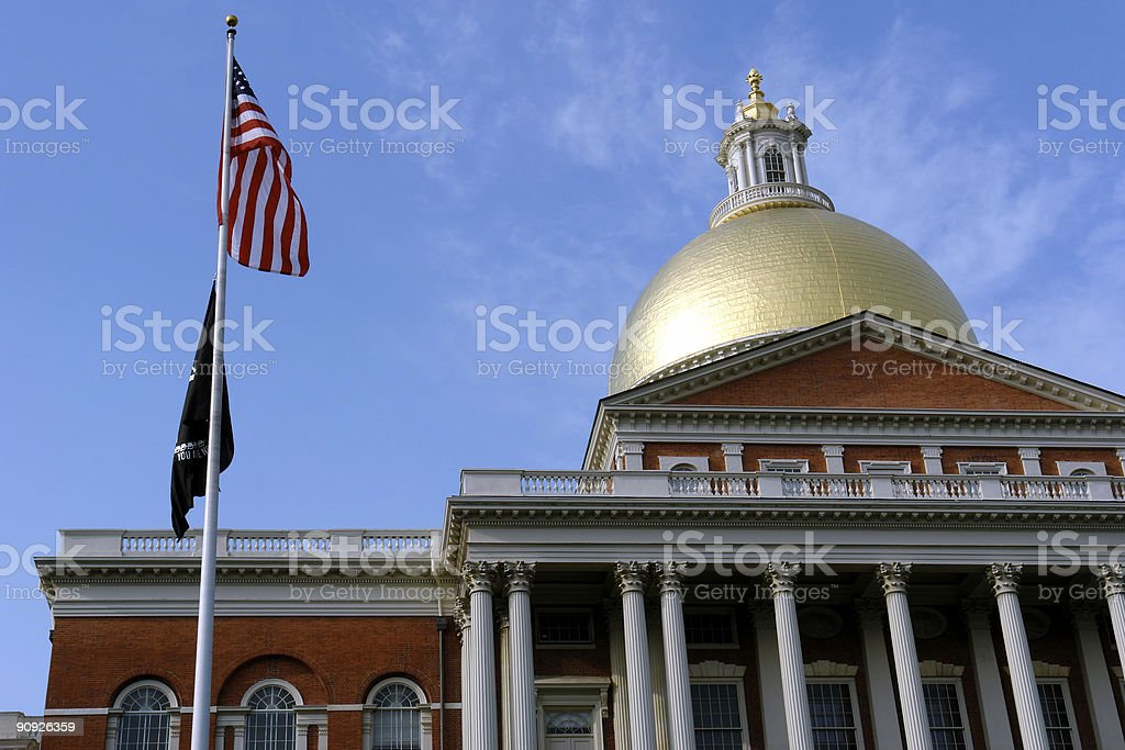 Worm's-eye view of domed government building with a flagpole stock photo