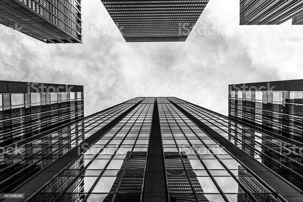 worm's-eye view of skycrapers stock photo