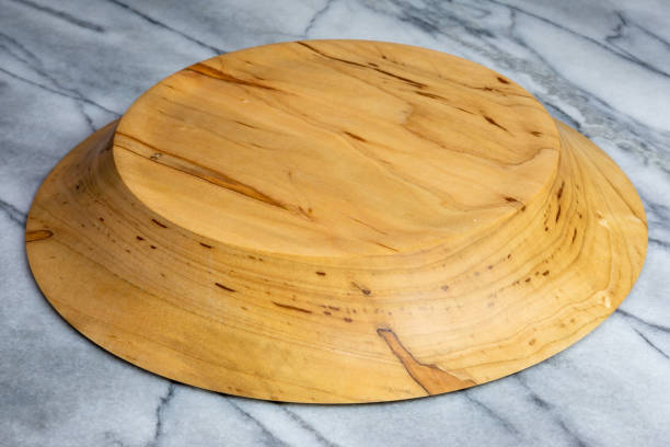 Wormy maple wood bowl hand turned stock photo