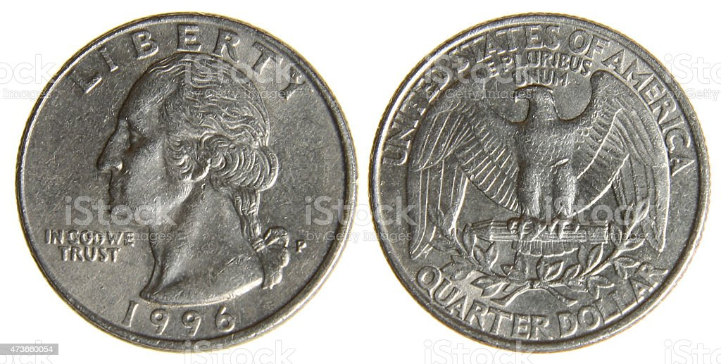 Worn American Quarter from 1996 stock photo