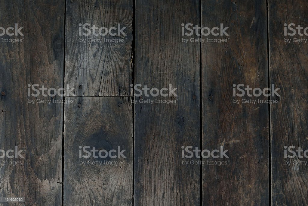 Worn and Damaged Vertical Wood Floor stock photo
