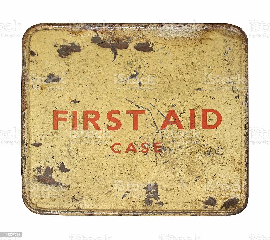 Worn And Dented Old First Aid Tin Front royalty-free stock photo
