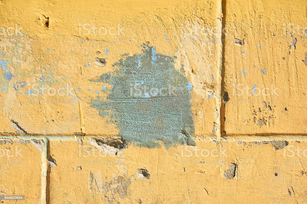Worn And Weathered Crusted Chipped Paint On Textured Cement Stock