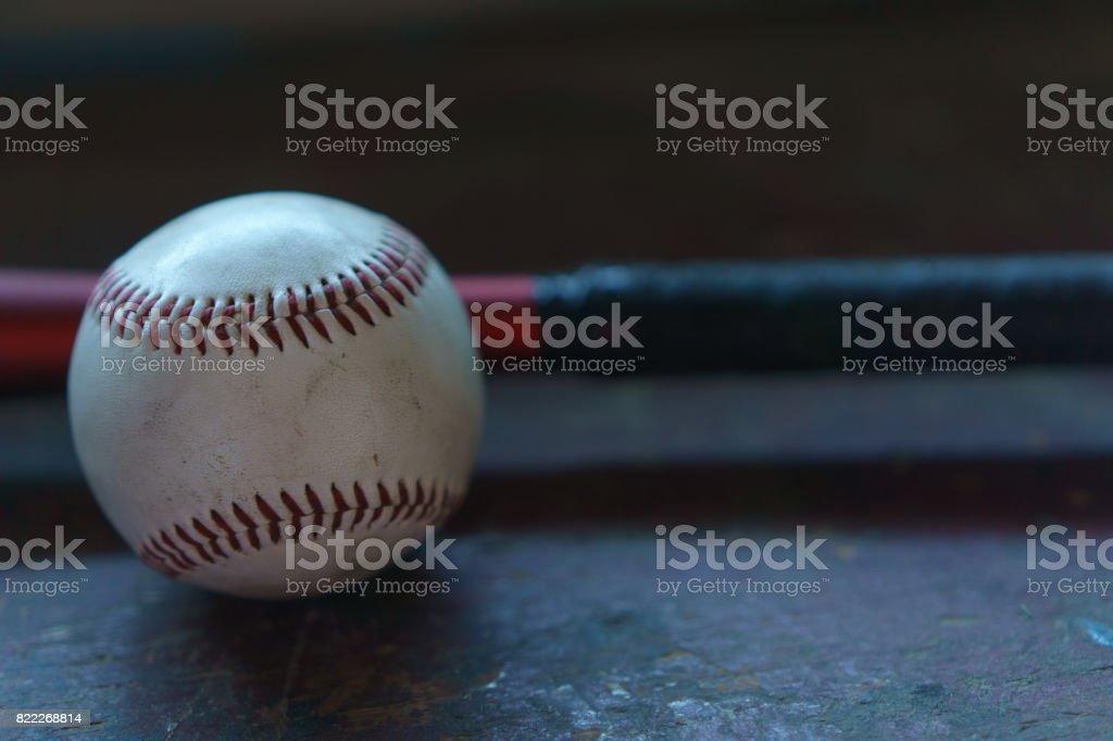 Worn Baseball and Bat stock photo