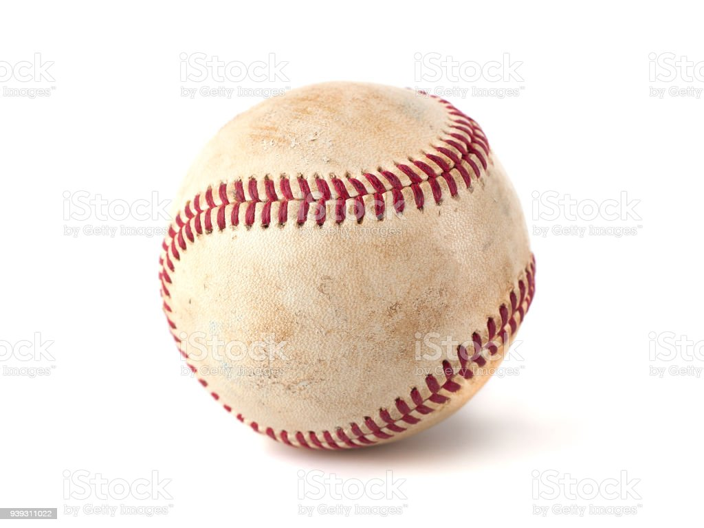 worn baseball isolated on white background, sport – zdjęcie