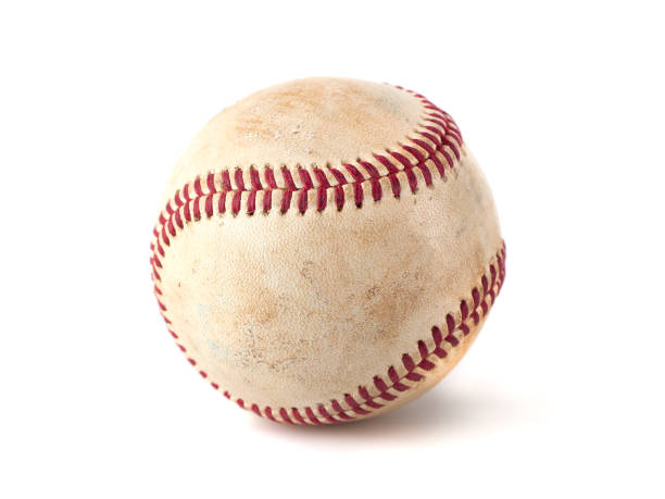 worn baseball isolated on white background, sport - baseball стоковые фото и изображения