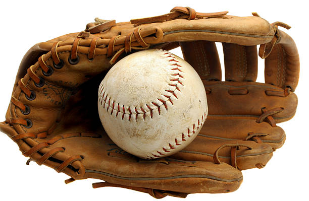 Worn Baseball Mitt and Ball stock photo