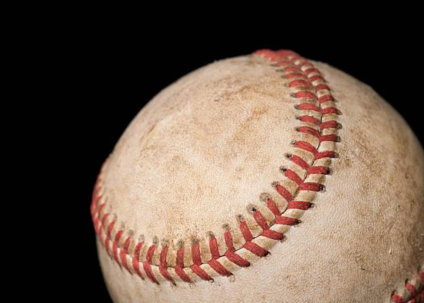 Worn Baseball on Black stock photo