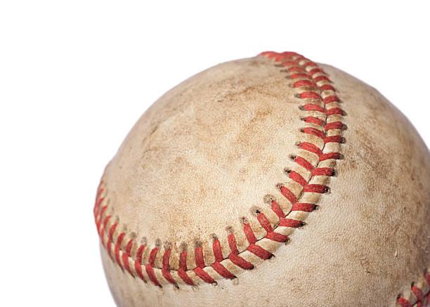 Worn Baseball on White stock photo