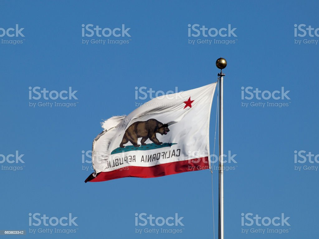 Worn California Republic State flag flying in reverse in strong winds stock photo