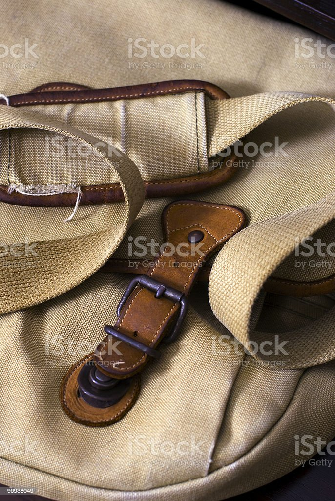 Worn Canvas Messenger Bag royalty-free stock photo