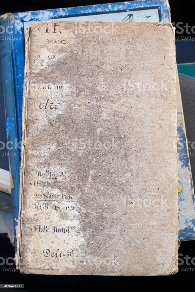 Worn down book cover stock photo