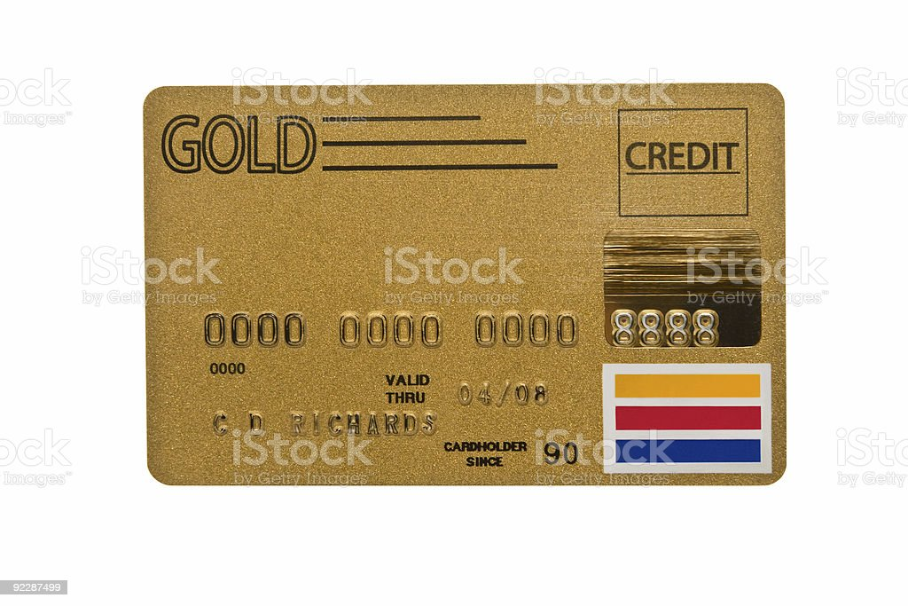 Worn Gold Credit Card stock photo