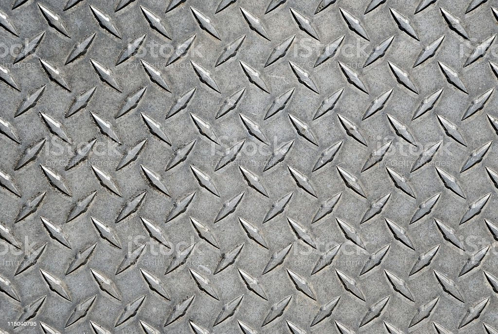 Worn Metal Diamond Tread Plate Pattern Background royalty-free stock photo