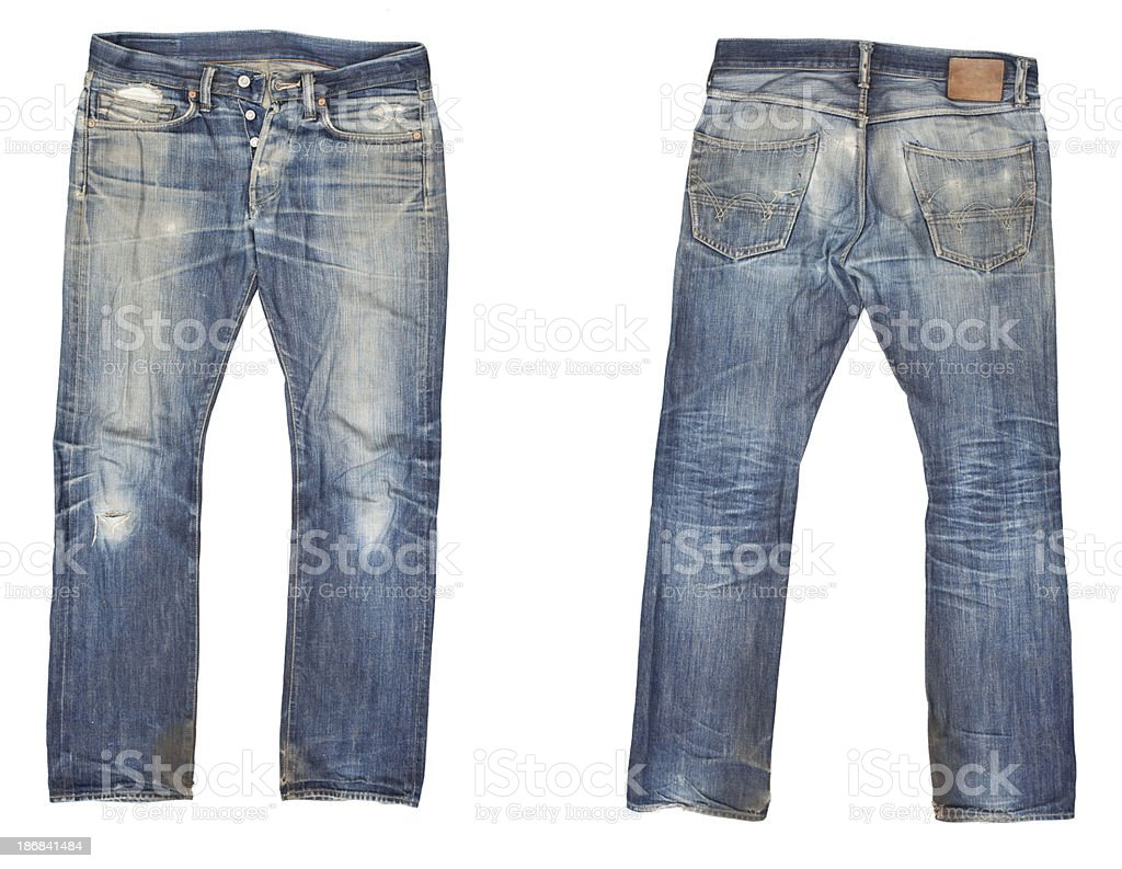 Worn Out Blue Jeans stock photo
