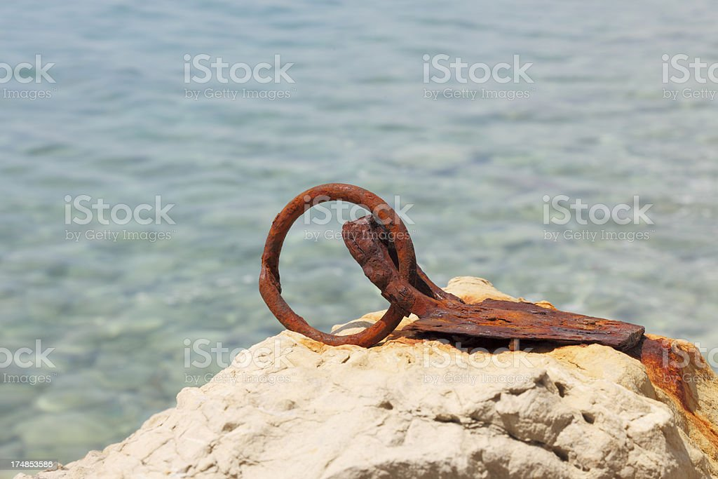 worn out rusty ship dock metal ring royalty-free stock photo