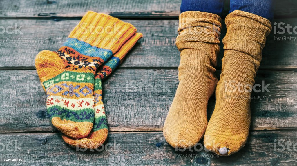 Worn out socks stock photo