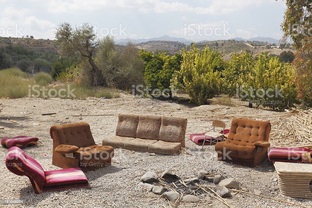 Fine Worn Out Sofas And Fireplace In Cyprus Countryside Stock Pdpeps Interior Chair Design Pdpepsorg