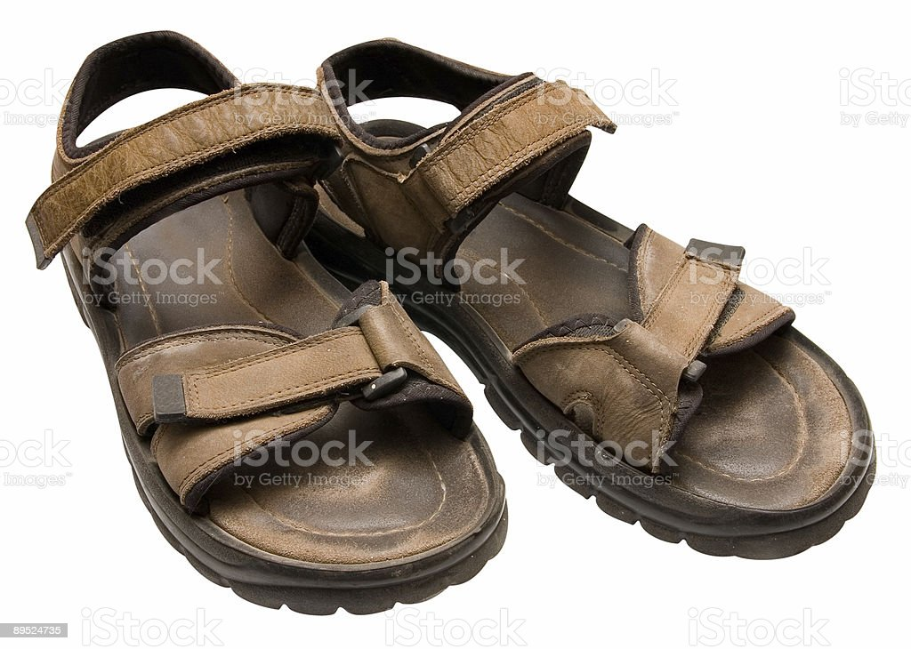 Worn sandals isolated with clipping path royalty-free stock photo