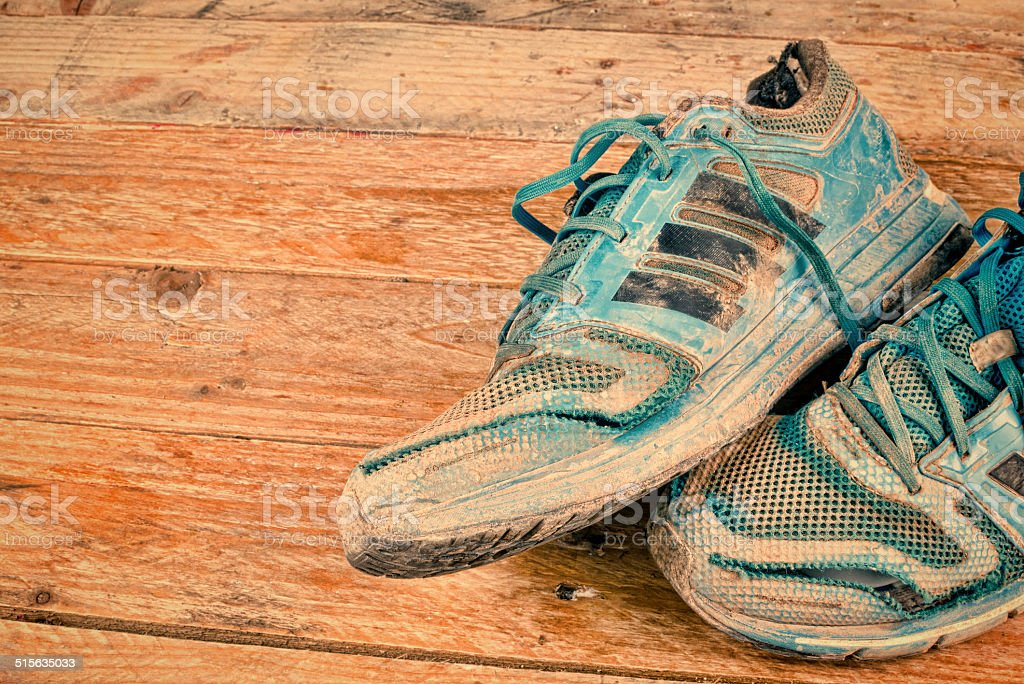 Worn sports shoes stock photo