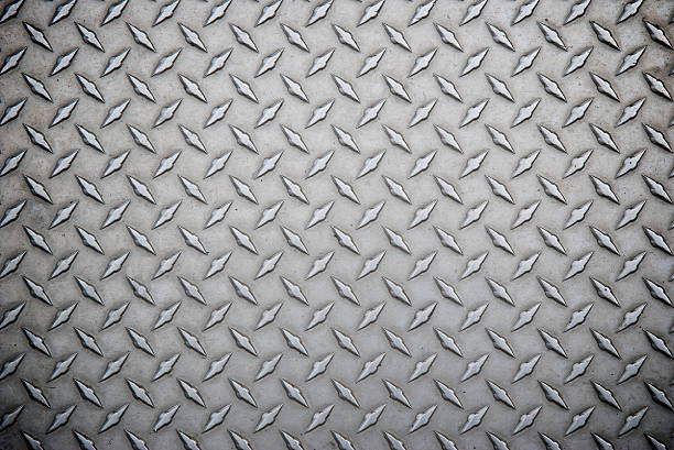 worn steel diamond tread full frame background - diamond plate background stock photos and pictures