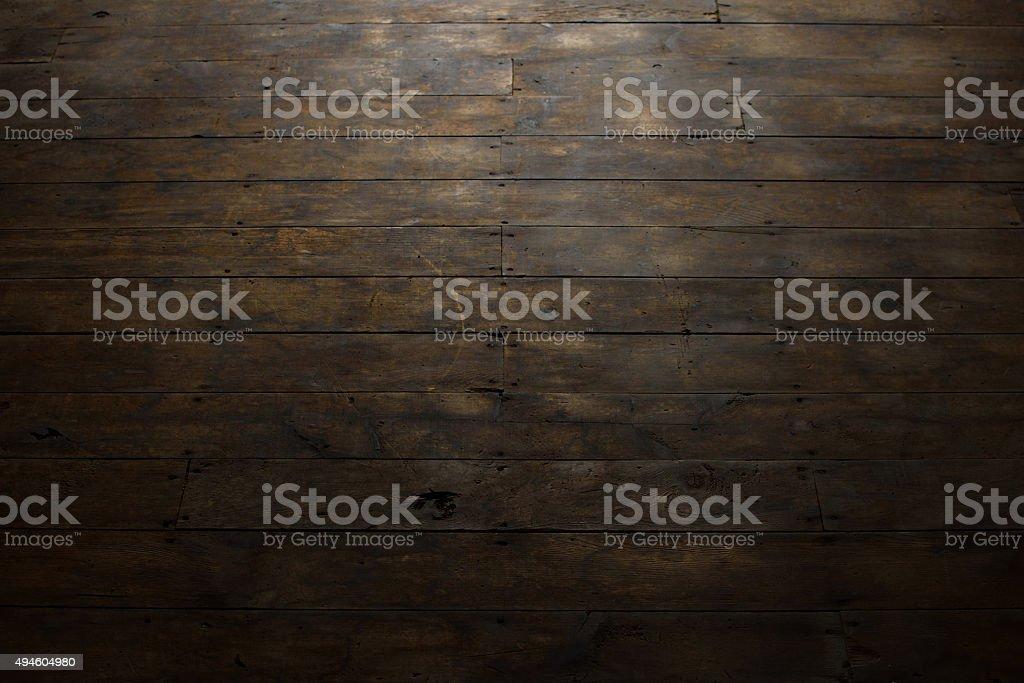 Worn Wood Plank Flooring stock photo