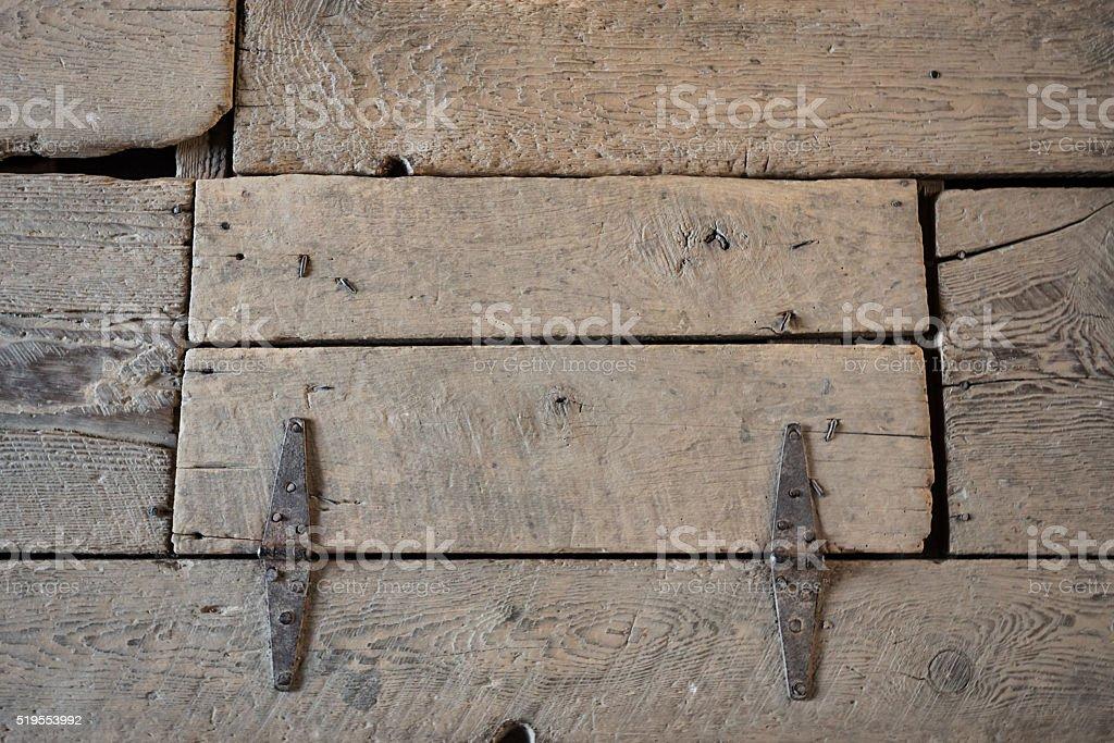 Worn Wood Trap Door stock photo