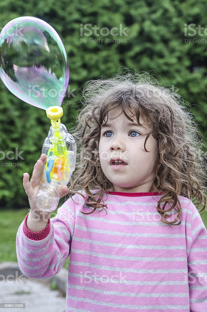 Worried about her bubble stock photo