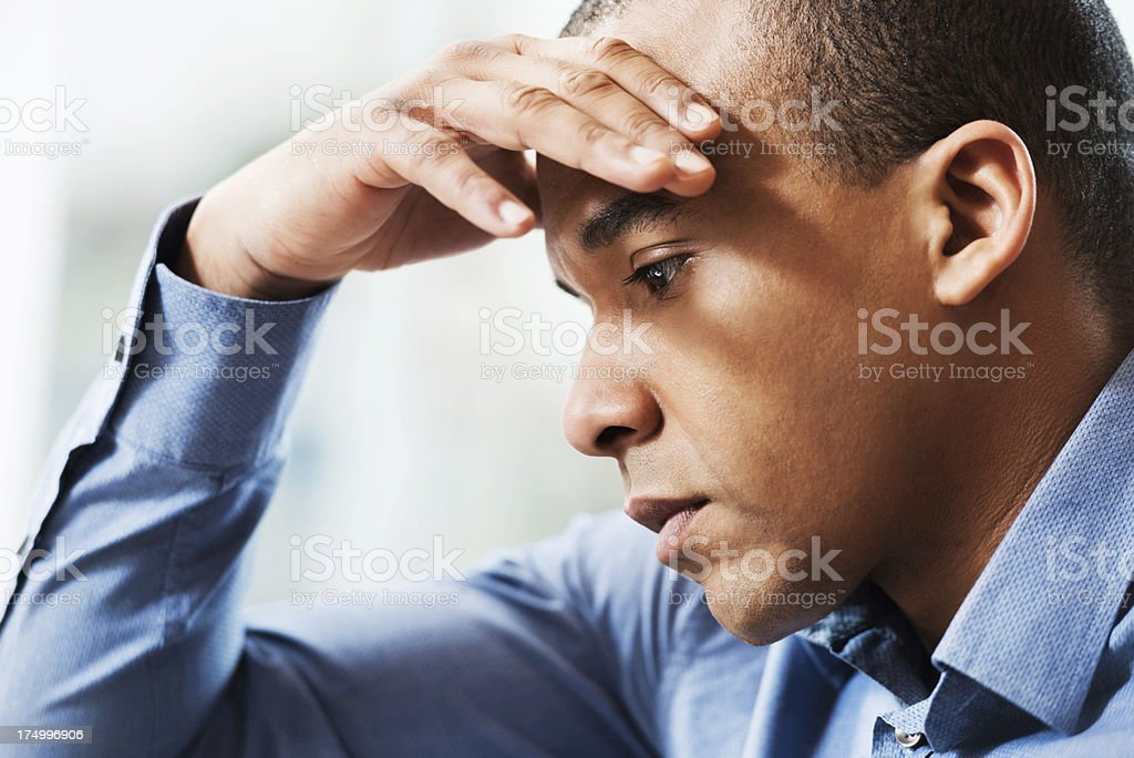 Worried African-American businessman. royalty-free stock photo