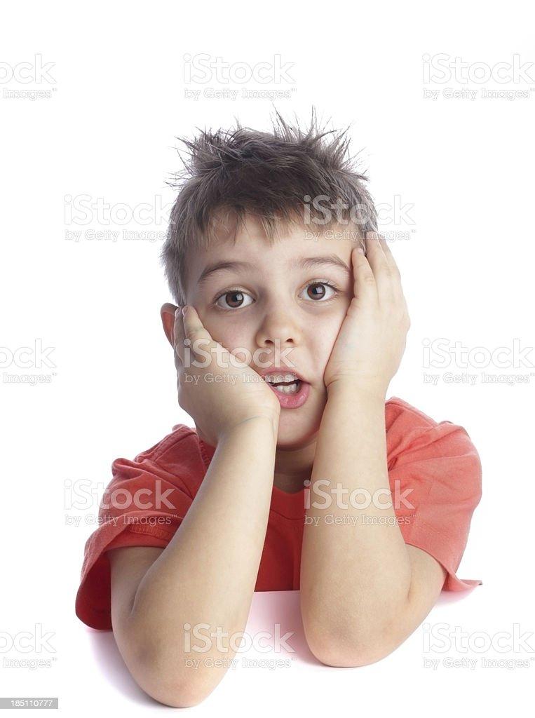 Worried boy on white royalty-free stock photo