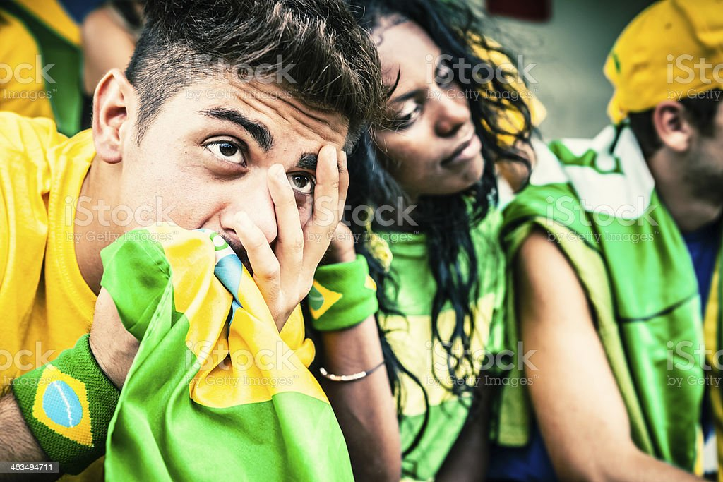 Worried Brazilian Fans, Soccer Championship royalty-free stock photo
