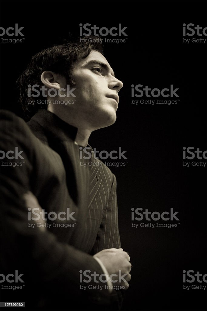 Worried businessman in dark royalty-free stock photo