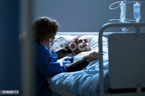 501741686istockphoto Worried caregiver supporting dying woman 928968774