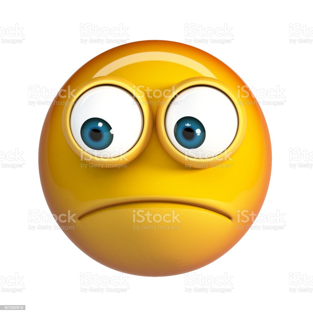 Worried emoji isolated on white background. Concerned emoticon stock photo