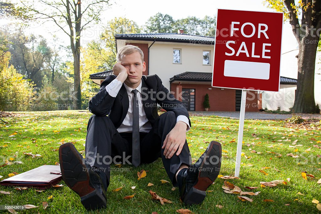 Worried estate agent stock photo