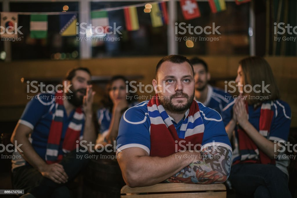 Worried fans stock photo
